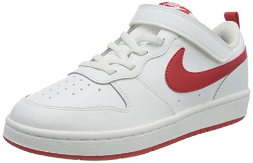 Nike Unisex-Child Court Borough Low 2 (PSV) Sneaker, White/University Red, 31 EU