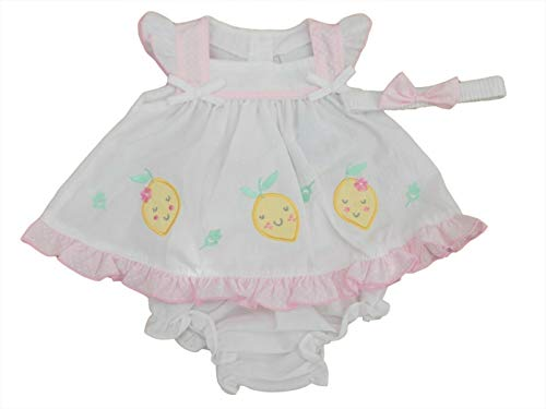 Nursery Time Ensemble robe d'été avec culotte et bandeau pour bébé fille Citron - Blanc - 4-6 ans