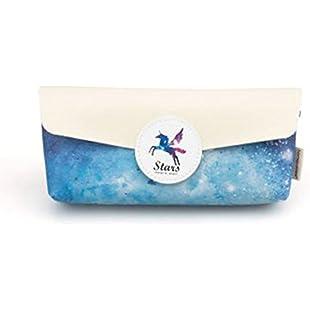 Languo Style Pegasus Unicorn Dream Stars Pencil Case Starry Sky Pencil Case (Blue)