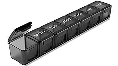 Extra Large Weekly Pill Organizer, Sukuos XL Daily Pill Cases for Pills/Vitamin/Fish Oil/Supplements (Black)