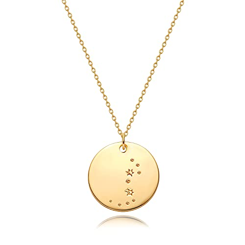 Mevecco Gold Necklace Coin Disc Zodiac 12 Constellation Scorpio Star Engraved Horoscope Sign Astrology Pendant 18K Gold Plated Chain Dainty Personalized Simple Jewelry
