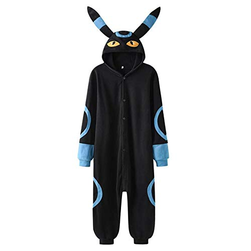 Schlafanzug Umbreon Onesie Schwarz Blau Cartoon Anime Kigurumis Overall Unisex Frauen Paar Overalls Winter Niedlicher Kawaii Pyjama Anzug-Blauer Umbreon_M.