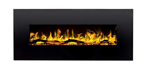 Pasa el ratón por encima de la imagen para ampliarla Chimenea eléctrica Albion 50 | Chimenea de pared (750 W o 1500 W) | Simulación de fuego LED | Profundidad solo 14 cm