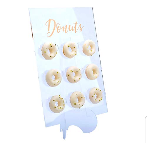 Pared de rosquilla de plástico acrílico transparente | Soporte de exhibición resistente para postres, tablero ideal para fiestas, mesas dulces, golosinas de boda, baby shower.