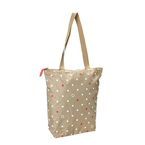 LeSportsac Lucky Dot Daily Tote, Style 2432/Color F103, Polka Dot & Ladybug Design Grosgrain Zip Pull
