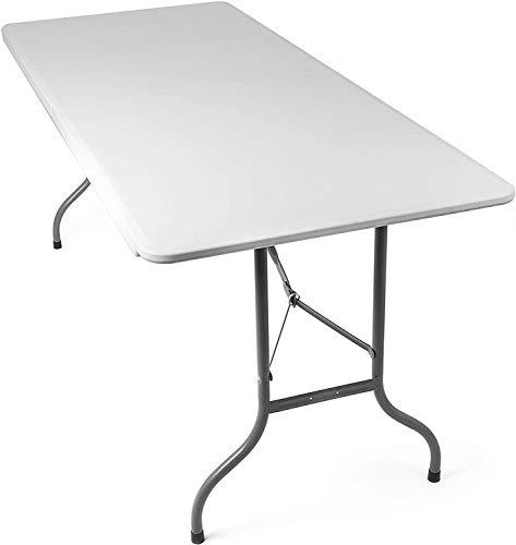 Mediawave Store - Mesa plegable transportable Silver con asa blanca de 180...