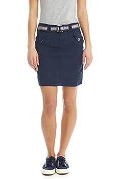 Suko Jeans Womens Mid Rise Stretch Poplin Cargo Skirt with Belt 57050 Navy 12
