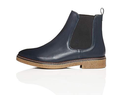 find. Damen Chelsea Boots aus Glattleder, mit Kreppsohle, Blau Navy), 40 EU