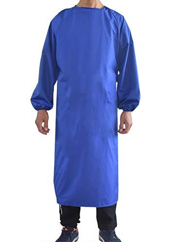 Maifunn エプロン men 作業服 衛生 給食 料理 飲食 工場 業務用 上品 防水 防汚 薄手 肌触り 多機能 H型 男性用 シンプル ブルー MF0008-Blue