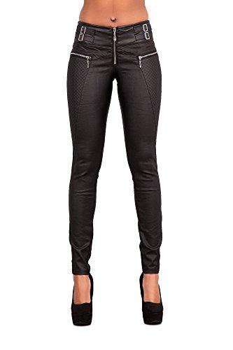 Crazy Lover Damen Kunstlederhose Skinny Fit Jean, Damenhosen, Glatte Damen Hose, Frauen Lederhose (40, Schwarz)