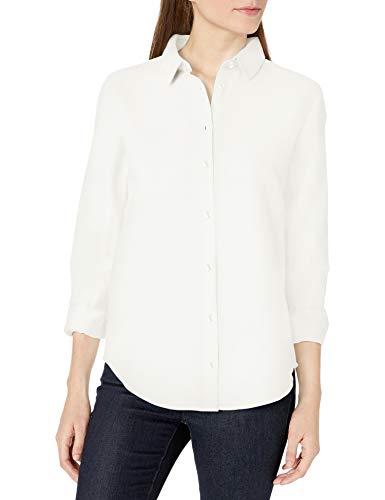 Amazon Essentials Relaxed-Fit Long-Sleeve Linen Shirt Dress-Shirts, Bianco, XXL