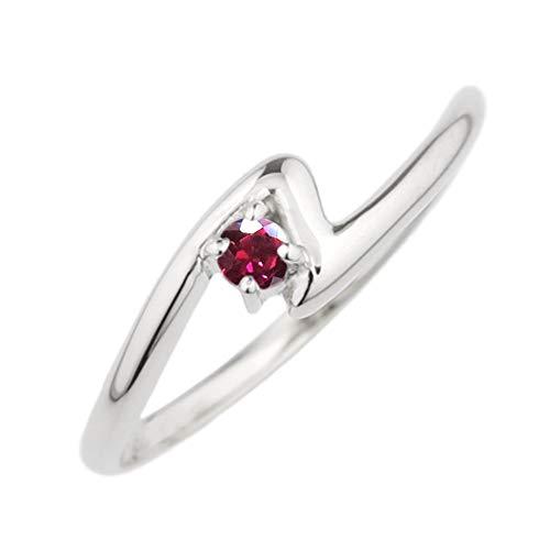 (リュイール) 指輪 レディース ルビー リング 18金 人気 リング 一粒 カラーストーン 誕生石 シンプル k18ホワイトゴールド サイズ 8.5号