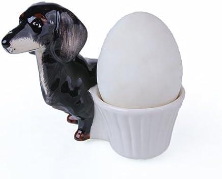 Preisvergleich für Dackel Geschenk Eierbecher set Eierbecher keramik Dackel braun Dackel schwarz exclusives design 2 Stück