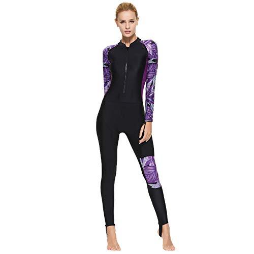 Winter Neoprenanzug für Damen, Quick Dry Thermal Front Reißverschluss Wetsuits Ultra Stretch Einteiler Ganzkörper Tauchanzug Surf Schnorchelanzüge Purple-XL