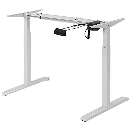 Exeta ergoEASY Elektrisch höhenverstellbarer Schreibtisch (Vers. 2020), 2-Fach-Teleskop,Memory-Funkt. und Softstart/-Stopp, elektrisch höhenverstellbares Tischgestell weiß – für gängige Tischplatten