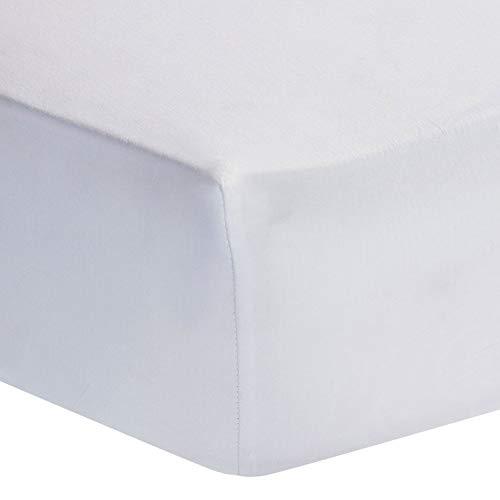 BlueberryShop, stijlvol jersey-hoeslaken van katoen, geschikt voor extra hoge (40 cm) en grote matrassen voor tweepersoonsbedden, wit