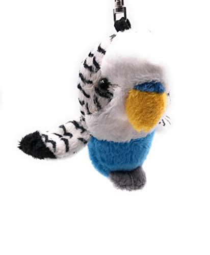 Onwomania Peluche / Peluche / Tela Animal Llavero Periquito Azul Periquito 15 cm