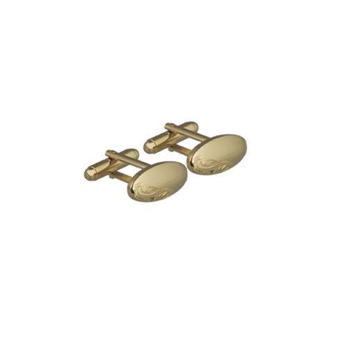 British Jewellery Workshops Boutons de Manchette plaqué Or Dur ovales 9x21mm dôme gravés à la Main pivotantes