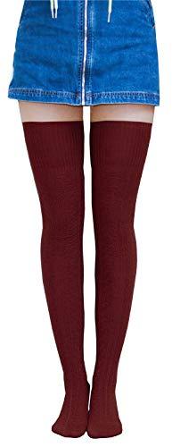 AnVei-Nao Womens Girls Winter Over Knee Leg Warmer Knit Crochet Socks Leggings Wine Red