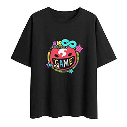 Camiseta feminina SK8 The Infinity Joe Teen Girls manga curta Camiseta Reki Kyan Langa Miya Cherry Manga Camisetas Anime Tops, Preto - 3, M