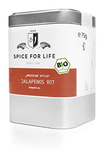 Spice for Life Jalapenos rot gemahlen, Bio, Chili Pulver. Mexican Style, 90g