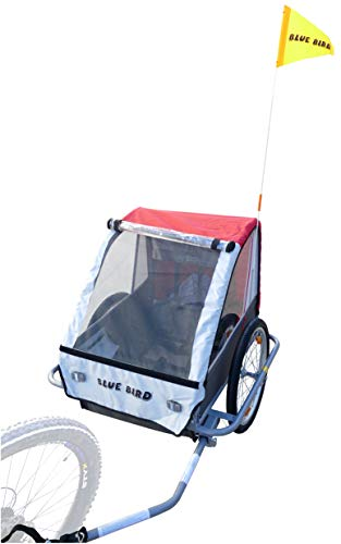 P4B | Fahrradanhänger (Kinderanhänger) - geeignet für bis zu 2 Kinder | Max. Transport 40 Kg | Mit 5-Punkt Sicherheitsgurte