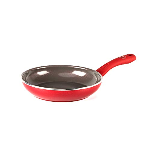 GreenChef Pfanne Bratpfanne Induktion Keramik Beschichtet, Toxinfreies Kochen, Ofen- und Spülmaschinengeeignet - 20 cm, Rot