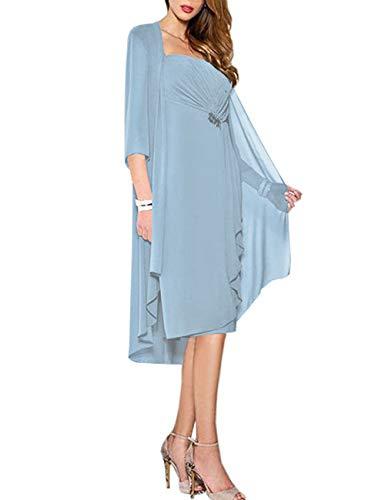 HUINI Brautmutter Kleider mit Jacke Wadenlang Chiffon Perlen Hochzeitskleid Abendkleid Ballkleid Festkleider Hellblau