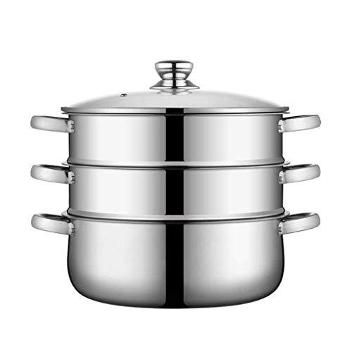 HZXLYG Semplice e Bella HzPDGSteamer-Piroscafi for Cucinare 3 Strati di Acciaio Inossidabile, Grande Multi Layer Coperchio Stock Pot e Vapore con Vetro temperato, for Tutti i Piani