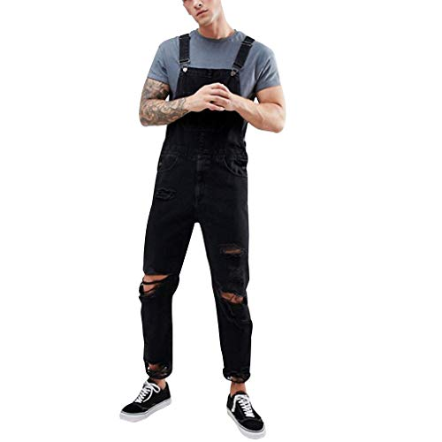 Dasongff jeansbroek voor heren, casual, werkbroek, heren, overall, lange broek, biker, destroyed in used jumpsuit, denim pants, slim fit, jogger jeans streetwear