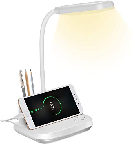 Lámpara de escritorio LED, lámpara de escritorio BZBRLZ recargable con puerto de carga USB y portalápices, 3 modos de color y luz nocturna y atenuación continua, blanco