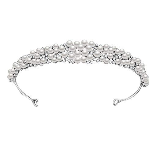 YAZILIND Prinzessin Braut Krone Haarband Brautschmuck Imitation Perle Strass Kopfschmuck Brautkleid Accessoires