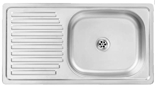 Manestein Lavello da cucina in acciaio inox con scolapiatti, vasca singola con sifone, reversibile, resistente alla corrosione e facile da pulire, 75 x 40 cm, colore: argento