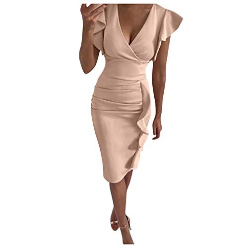 GFGHH Elegante vestido de mujer con cuello en V, minivestido, para el tiempo libre, bodycon con volantes, vestido de cóctel maxi vestido de noche para fiestas, bailes, beige, XL
