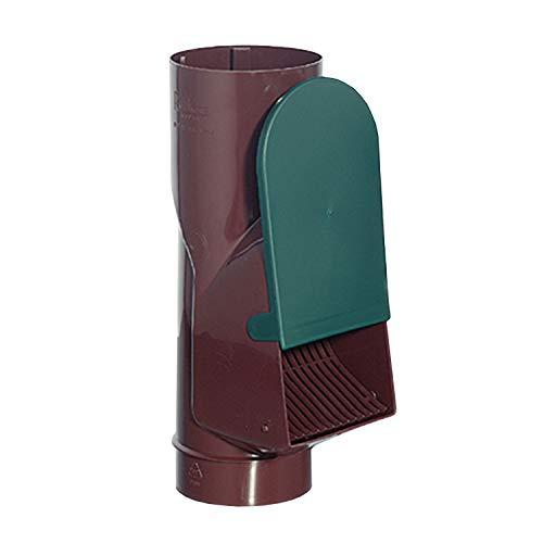 Regenwasserfilter Laubabscheider braun für Blechfallrohre mit 80 mm und 100 mm Durchmesser. Verhindert das Zusetzen und Verstopfen von Fallrohren durch Grobschmutz wie Laub, Äste und Moos.