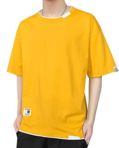 [ポップレオン] デザインTシャツ デザイン おしゃれ 半袖 半袖Tシャツ 重ね着 ティーシャツ ラウンドネック 夏 夏服 春夏 カットソー トップス レイヤード レイヤードTシャツ オーバーサイズ ビックシルエット 薄手 綿 無地 シンプル カジュアル Tシャツ 半袖シャツ ストリート 大きい サイズ 韓国ファッション きれいめ 綿シャツ 10代 20代 30代 メンズ イエロー 黄色 M