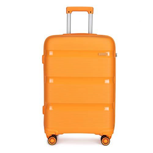 Kono 55x40x21cm Cabin Hand Luggage Hard Shell Travel Trolley 4 Spinner Wheels Lightweight Polypropylene Carry On Suitcase with TSA Lock 40L (Orange)