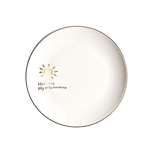 XUSHEN-HU Ceramic Ceramic Matte Western Plate Fruit Plate Phnom Plate Shallow Dish Nordic Creative Tableware White Vintage