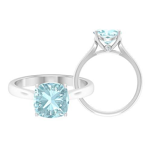 Rosec Jewels 14 quilates oro blanco cojín Round Brilliant Blue Moissanite