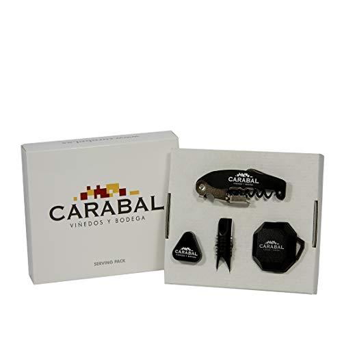 Carabal Set Vino 4 en 1 (Sacacorchos + Corta-cápsulas + Tapón + Anti-Goteo)