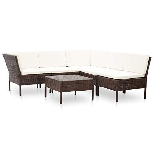 vidaXL Conjunto de Muebles de Jardín 6 Piezas con Cojines Casual Mesas...