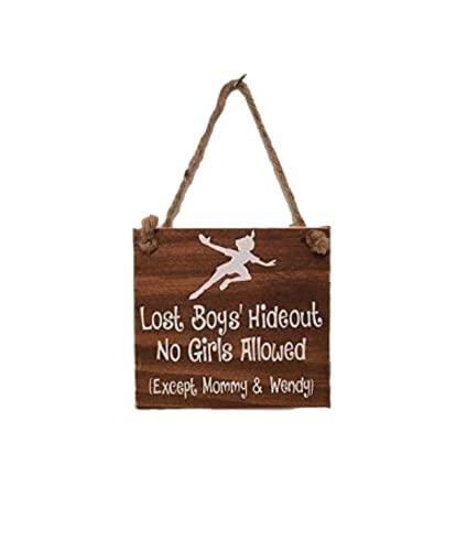 Lost Boys' Hideout - Peter Pan Nursery - Sign Door Hanger - Gift Present for Baby Shower Boy's Room