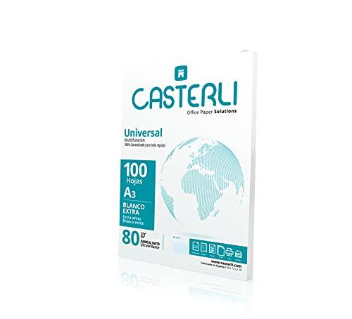 CASTERLI - Folios A3, 100 Hojas Blancas. Tamaño A3, Papel de 80 gr, Extra blanca, Papel multiusos para impresora A3 80gsm (A3, 100 HOJAS)