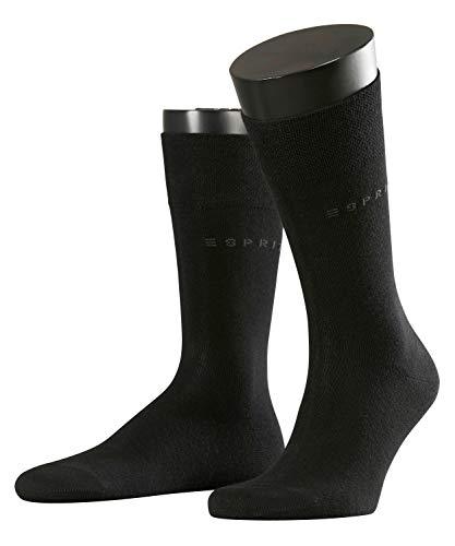 ESPRIT Herren Socken Basic Easy 2-Pack - 80% Baumwolle, 2 Paar, Schwarz (Black 3000), Größe: 47-50