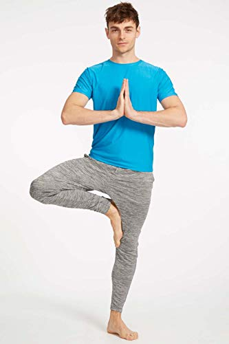Ohmme Equinox Herren Yoga-Top, kurzärmelig, Blau, XL