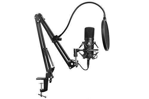 Maono AU-A04 Studio-microfoonset, USB-aansluiting, tafel, veerbelaste galgenarm en popfilter