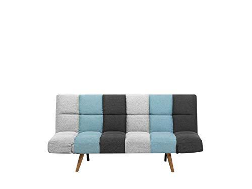 Beliani Schlafsofa in skandinavischem Stil klappbar Patchwork grau/blau Ingaro