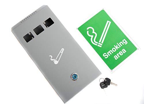 """Wand-Aschenbecher für den Außenbereich – silberfarben – Stahl/Metall-Finish – abschließbar – mit """"Smoking Area""""-Schild"""