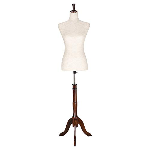Bonnlo Upgraded Female Dress Form, Mannequin Torse Body with Adjustable Rubber Wood Stand for Dress Jewelry Display (White, 2-4)