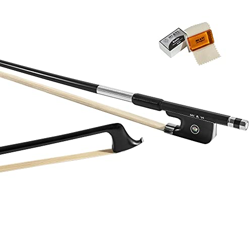 MI&VI Classic Carbon Fiber Cello Bow (Full Size 4/4) with FREE Rosin and Bow Soft Bag   Ebony Frog   Well Balanced   Real Mongolian Horse Hair - By MIVI Music